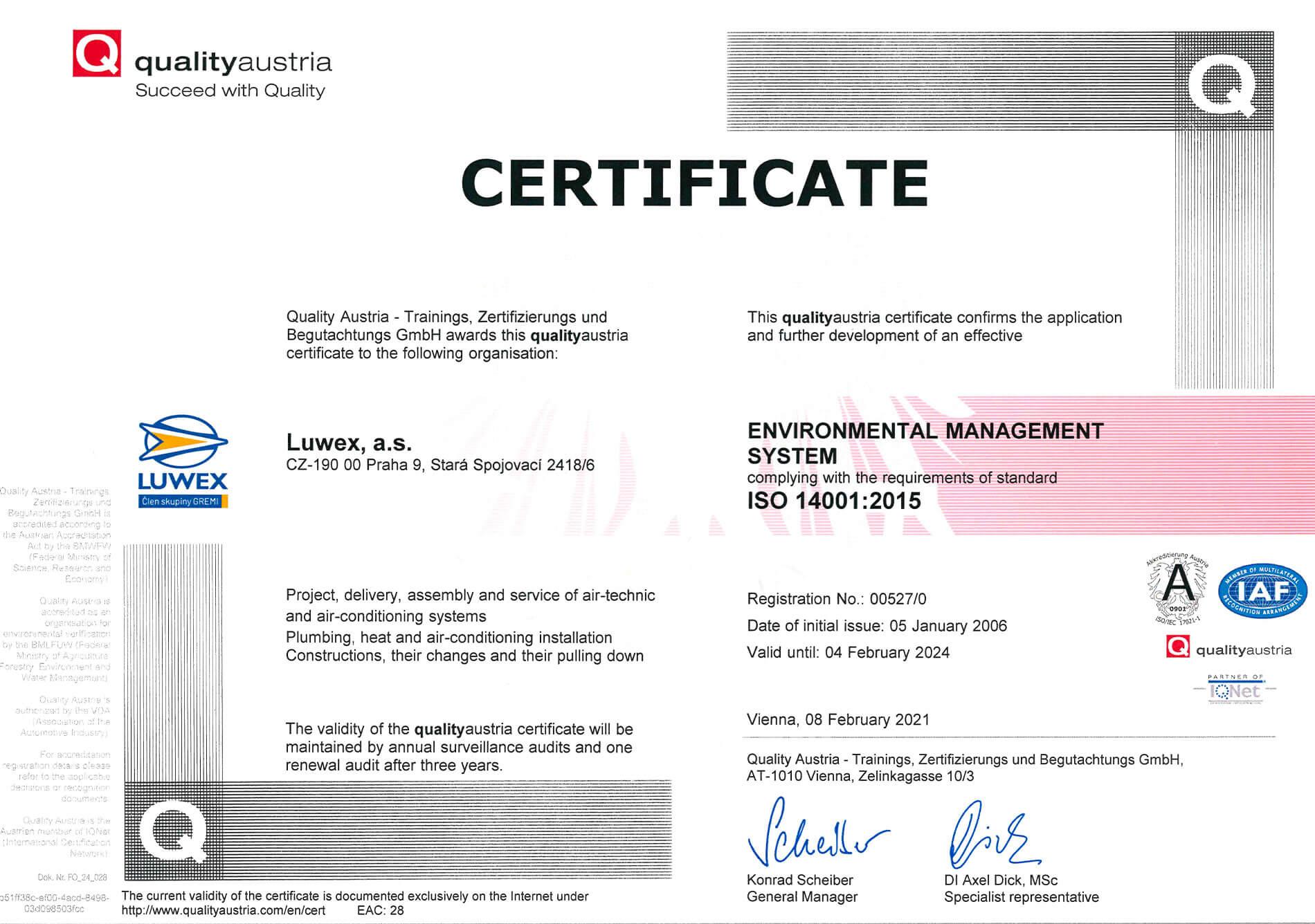 Certifikát ISO 14001-2015